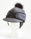 Grey Winter Railroad Cap with Fur