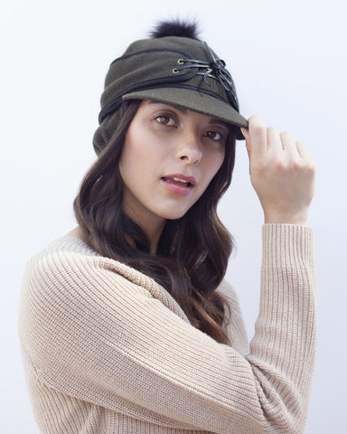 Olive Railroad Cap with Fur