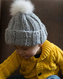 Grey Kids Knit Hat with Fur Pom Pom