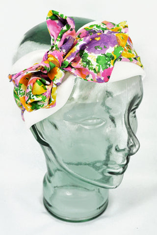 Demi-Turban | White w/ Floral
