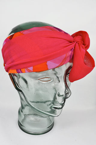 Silk Demi-Turban | Fuschia Print
