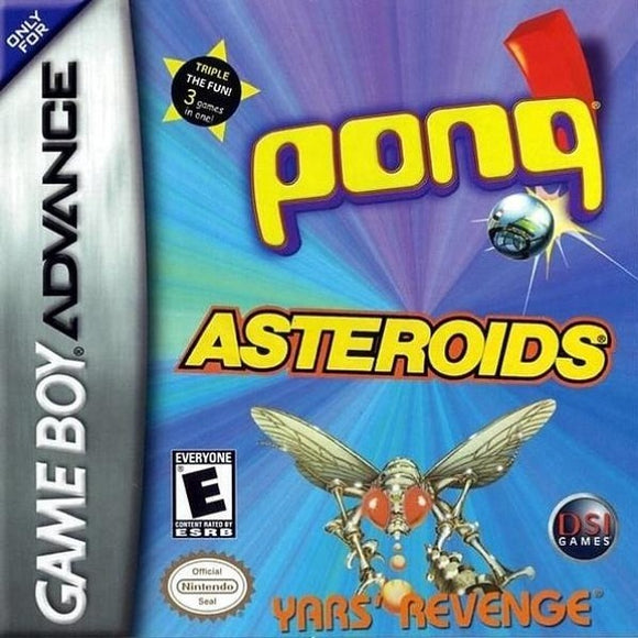 Pong  Asteroids  Yars' Revenge Nintendo Game Boy Advance - Gandorion Games
