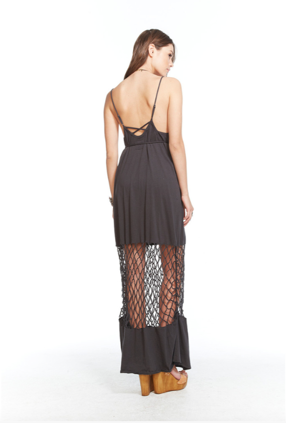 Chaser Knotted Maxi Dress In Vintage Black Dainty Lion