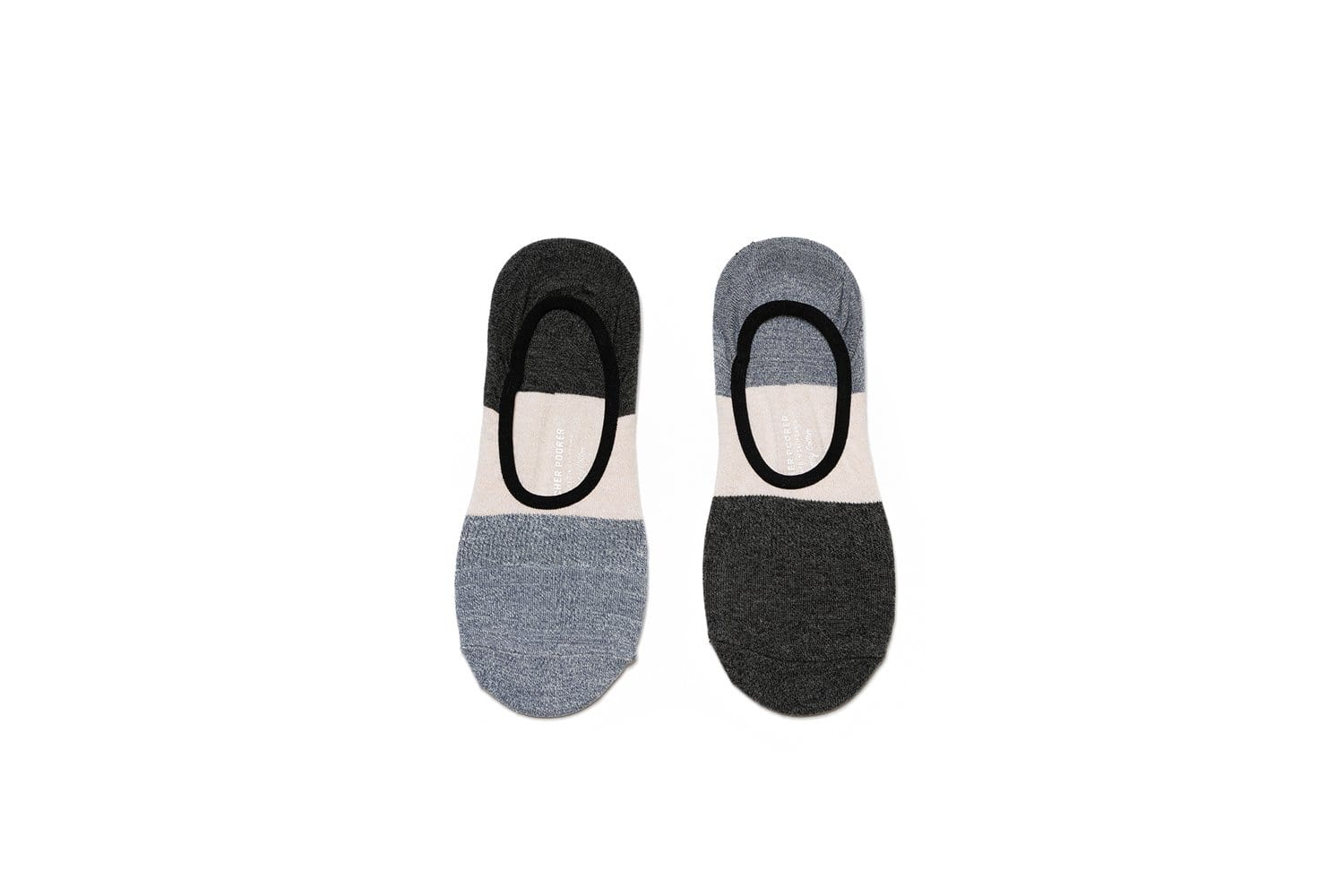 Mens No Show Socks - 2 Pack - Grey & Black