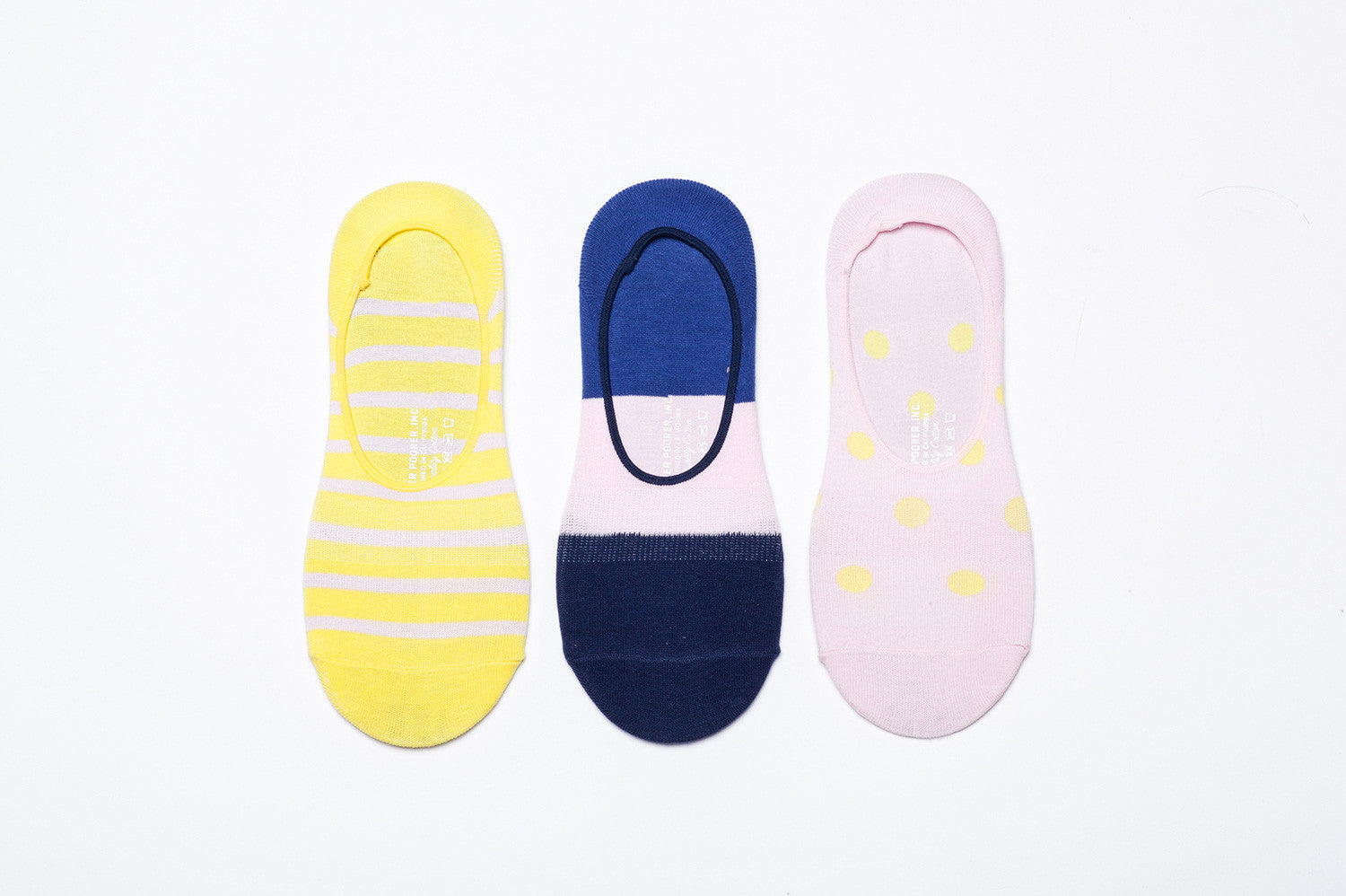 Womens No Show Socks - 3 Pack - Pink, Yellow & Blue
