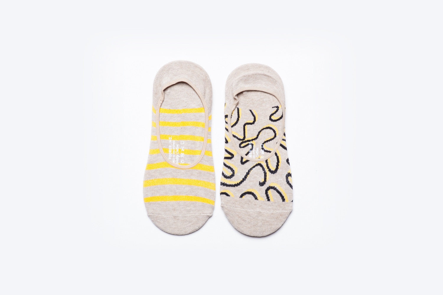 Womens No Show Socks - 2 Pack - Cream & Yellow