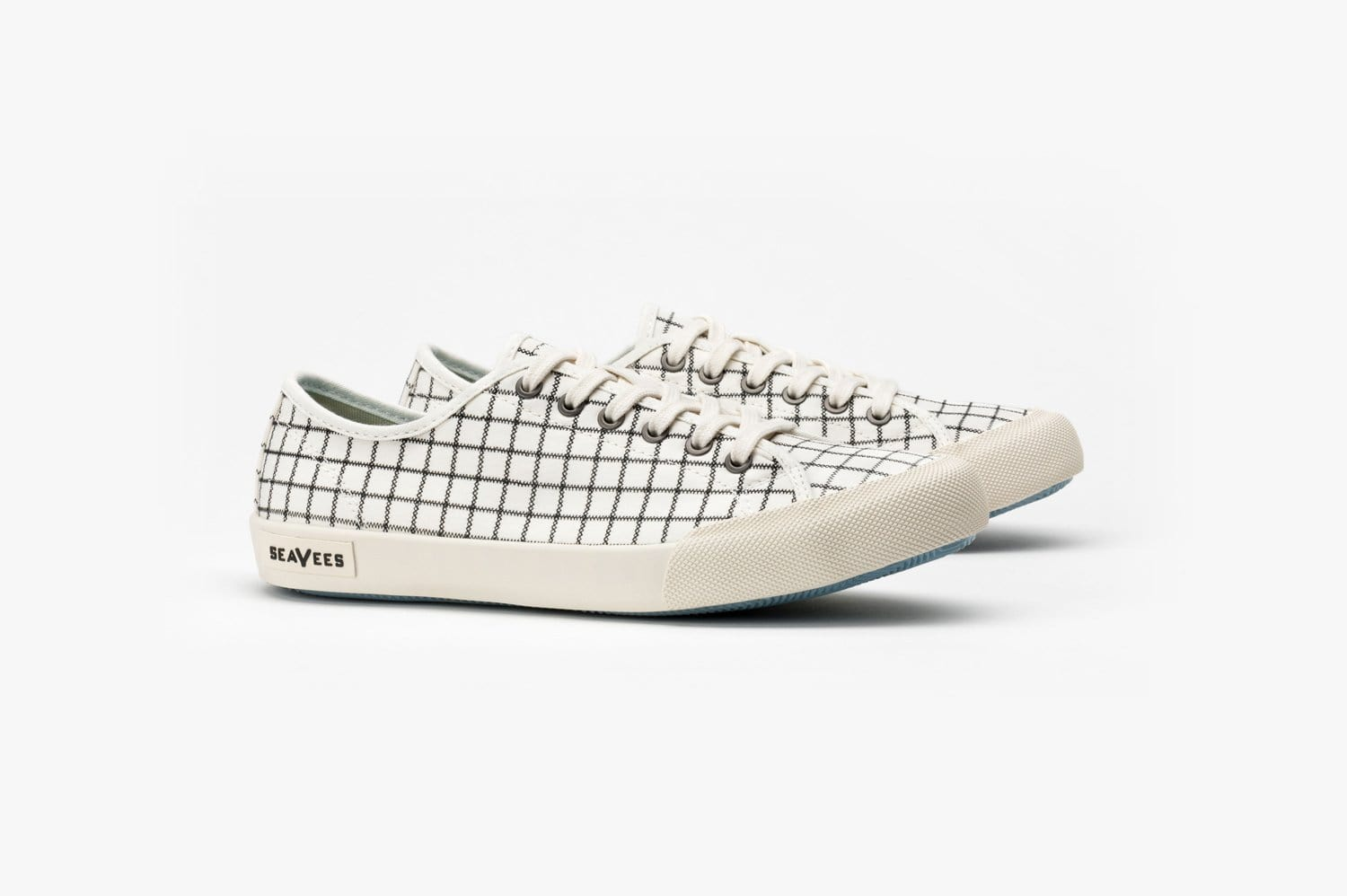 Womens - Monterey Sneaker Embroidery - White Windowpane