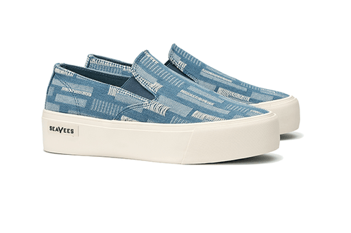 b68d3a9285ca Baja Slip On Platform Embroidery in Stitched Denim