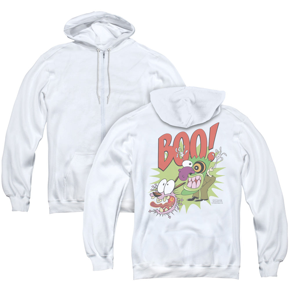 Courage The Cowardly Dog - Stupid Dog (Back Print) Adult Zip Up Hoodie