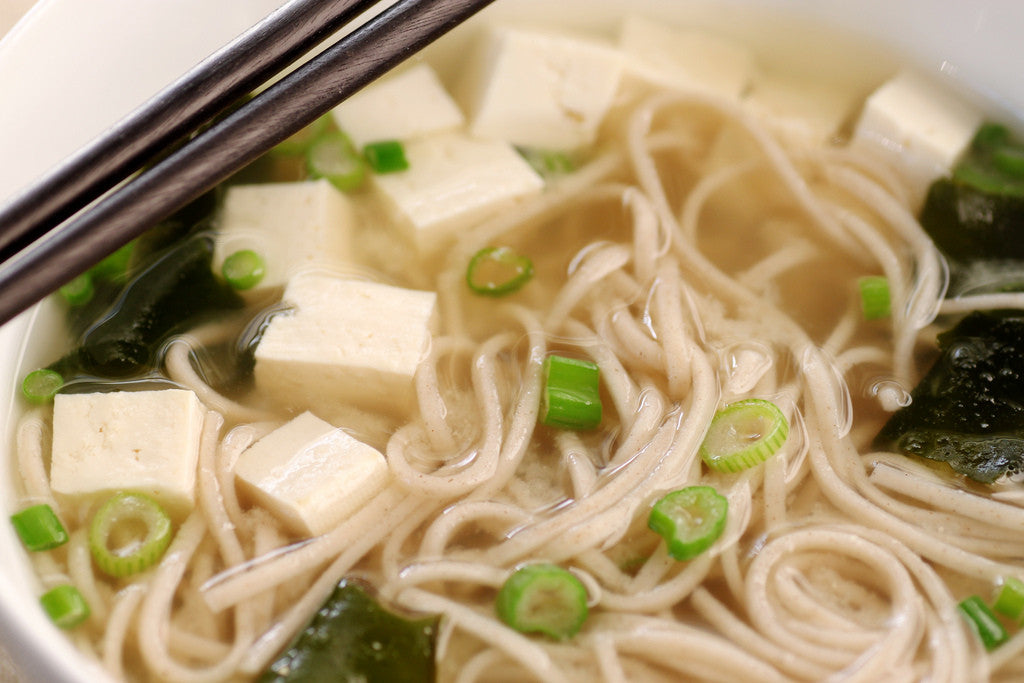 Japanese Miso Soup with Soba Noodles