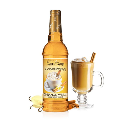 Sugar Free Cinnamon Vanilla Syrup by Jordan's Skinny Mixes, 25.4 fl oz (750 ml)