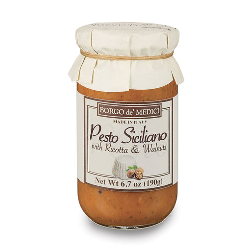 Borgo de Medici Pesto Siciliano Pasta Sauce with Walnuts & Ricotta Cheese, 13.4 oz (190 g)