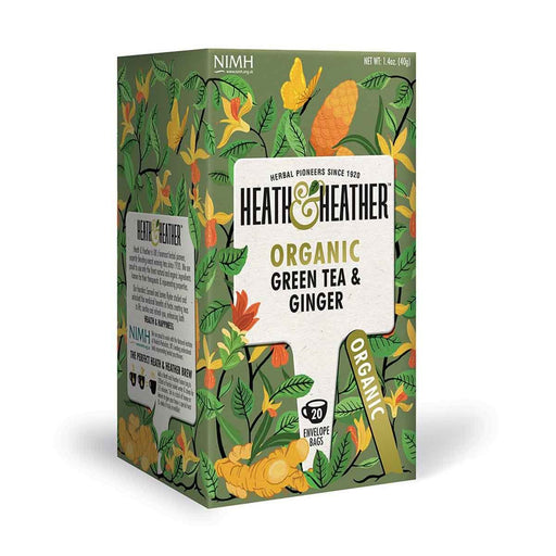 Heath & Heather Organic Green Tea with Ginger 20 Tea Bags, 1.4 oz (40 g)