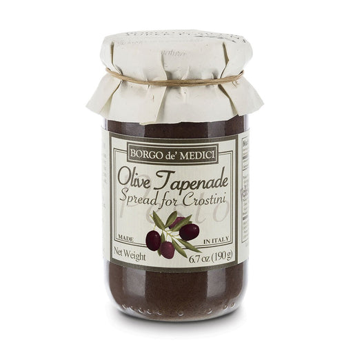 Borgo de Medici Black Olive Tapenade Spread for Crostini, 13.4 oz (190 g)
