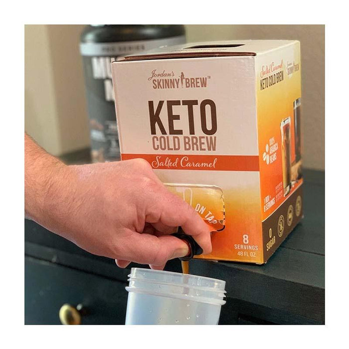 Keto Cold Brew in Box with Tap - Salted Caramel with MCT by Jordan's Skinny Mixes, 48 fl (1420 ml)