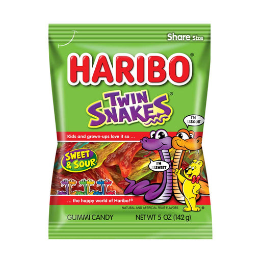 Haribo Twin Snakes Sweet N Sour Gummy Candy, 5 oz (142 g)