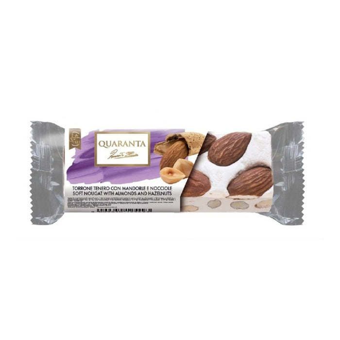 Quaranta Mini Soft Nougat with Almonds and Hazelnuts, 1.8 oz (50 g)