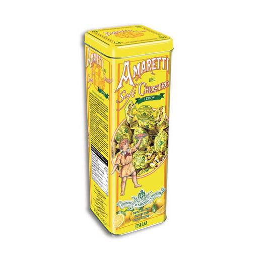 Chiostro di Saronno Soft Lemon Amaretti Cookies in Tower Tin, 6.3 oz (180 g)