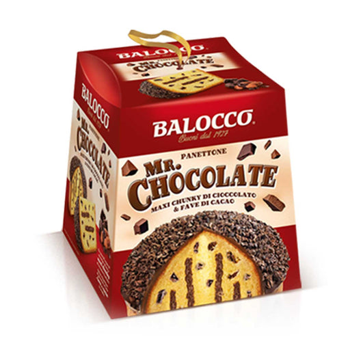 Balocco Panettone Mr. Chocolate with Chunky Chocolate & Cocoa Beans, 1.8 lb (800 g)