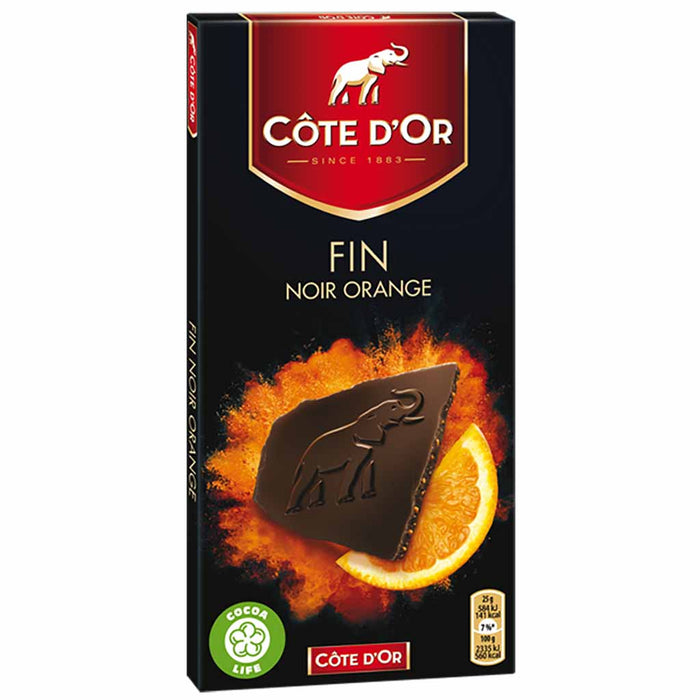 Cote d'Or Dark Chocolate with Candied Orange Peel 3.5 oz.  (100g)