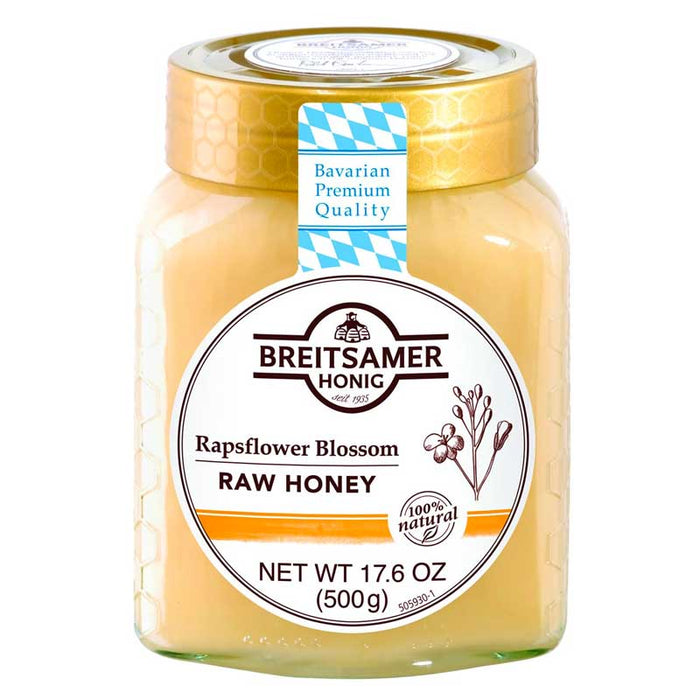 Breitsamer Raw Rapsflower Blossom Honey, 17.6 oz (500 g)