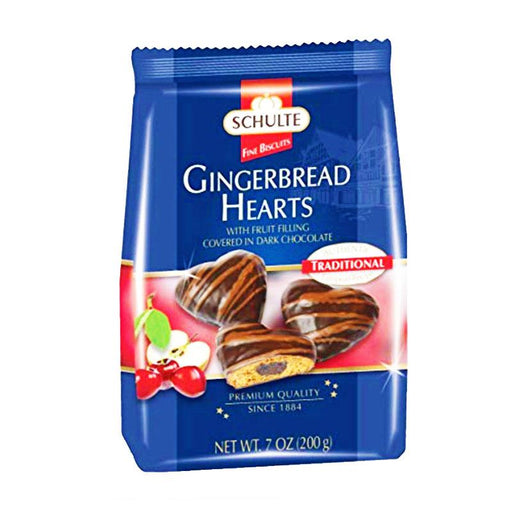Schulte Premium Gingerbread Hearts with Dark Chocolate, 7 oz