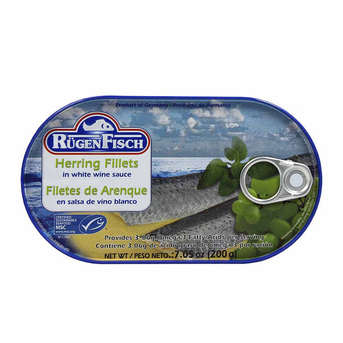 Rugen Fisch Herring Fillets In White Wine Sauce, 7 Oz (200