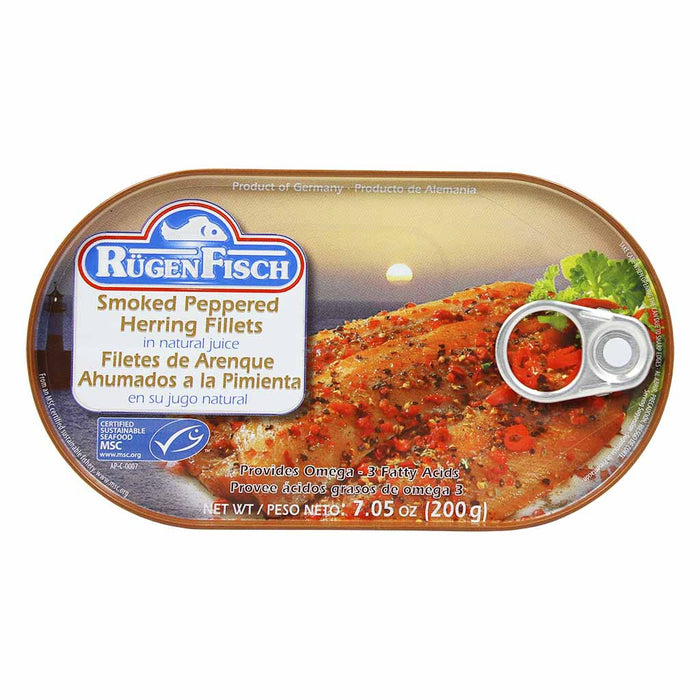 Rugen Fisch Smoked Peppered Herring Fillets, 7 Oz (200 G