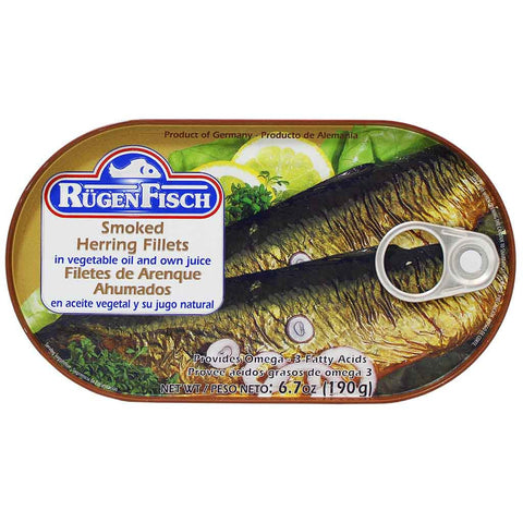 Rugen Fisch Smoked Herring Fillets in Vegetable Oil and Own Juice 6.7 oz. (190g)
