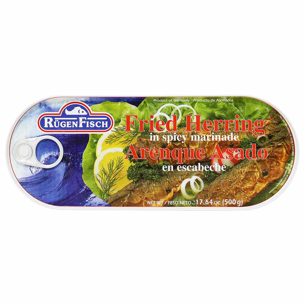 Rugen Fisch Fried Herring In Spicy Marinade 17.6 Oz. (500g