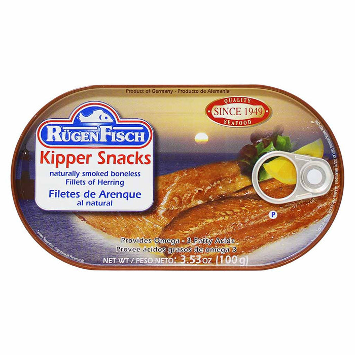 Rugen Fisch Kipper Snacks Smoked Herring Fillets, 3.5 oz (100 g)