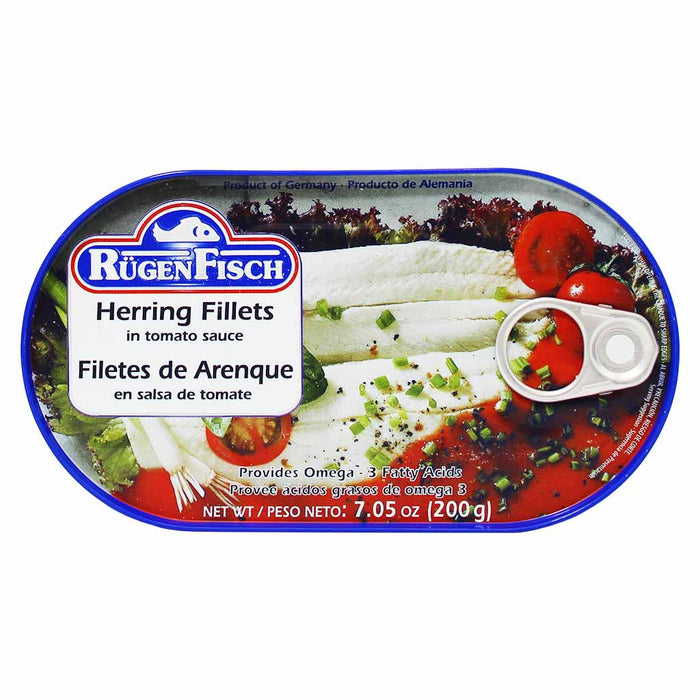 Rugen Fisch Herring Fillets in Tomato Sauce 7 oz. (200g)