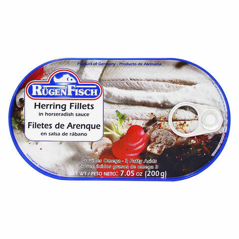 Rugen Fisch Herring Fillets in Horseradish Sauce 7 oz. (200g)