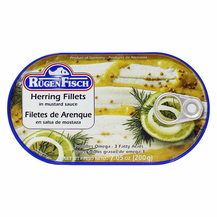 Rugen Fisch Herring Fillets in Mustard Sauce, 7 oz (200 g)