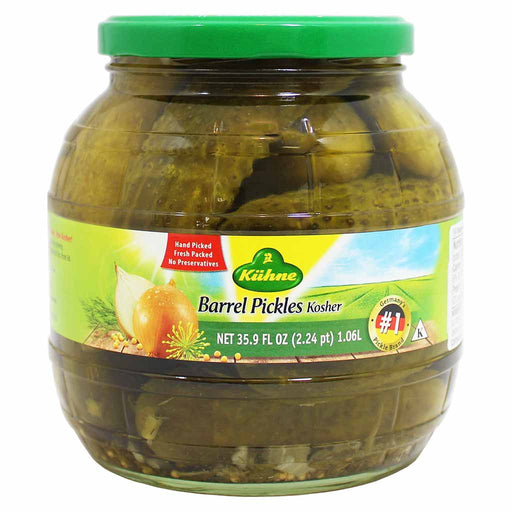 Kuhne Kosher Barrel Pickles, 35.9 fl oz (1.06 L)