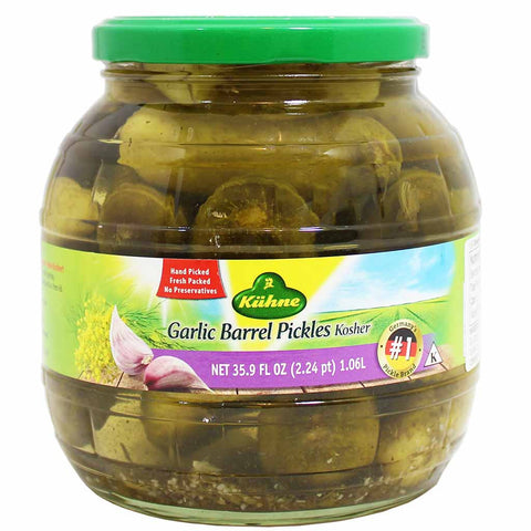 Kuhne Garlic Barrel Pickles 35.9 fl. oz. (1.06L)