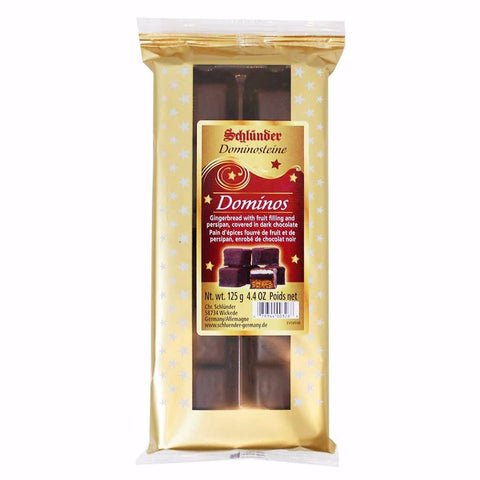 Schlunder Dominos Dark Chocolate Covered Gingerbread with Fruit Filling & Persipan 4.4 oz. (125g)