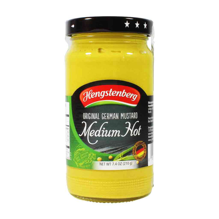 Hengstenberg Medium Hot Mustard, 7.4 oz (210 g)