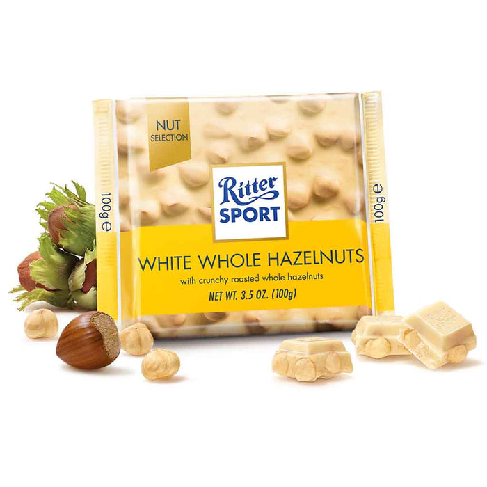 Ritter Sport White Chocolate with Whole Hazelnuts, 3.5 oz (100 g)