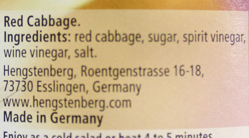 Hengstenberg - Red Cabbage, Jar, Germany, 24 oz. (680 g)