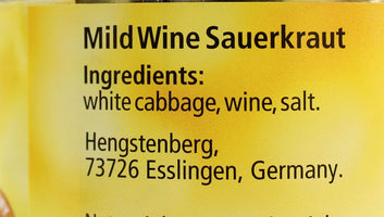 Hengstenberg German Sauerkraut, Mild Wine, 10.6 oz. (300 g)
