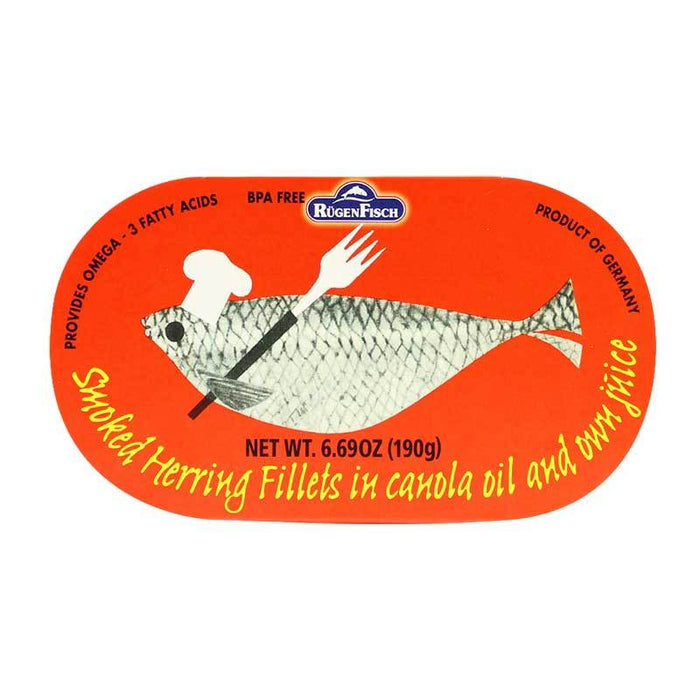 Rugen Fisch Ð Smoked Herring Fillets in Canola Oil, Retro Tin, 6.69 oz. (190 g)