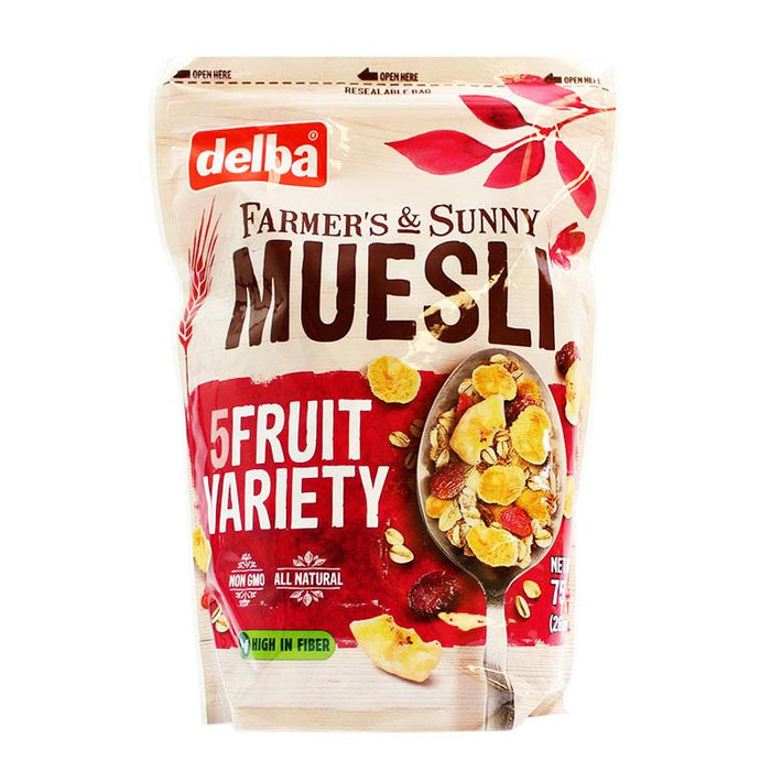 Delba – Muesli (Five-Fruit Variety) Famer's and Sunny, 26.5 oz. (750 g)