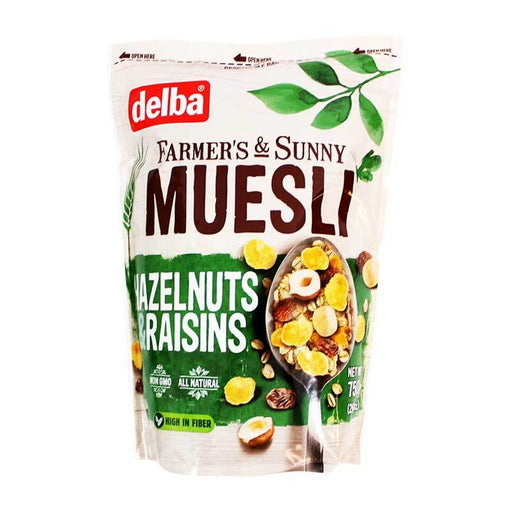 Delba Ð Muesli with Hazelnuts and Raisins (FamerÕs and Sunny), 26.5 oz. (750 g)
