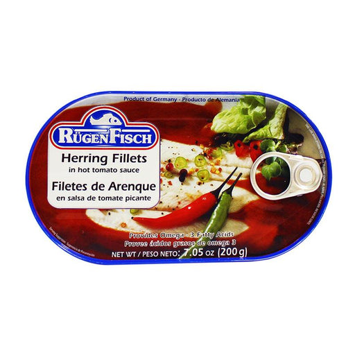 Rugen Fisch – Herring Fillets in Hot Tomato Sauce, Germany, 7.05 oz. (200 g)