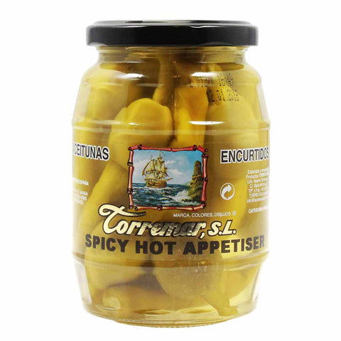 Spanish Pepper Stuffed Olives by Torremar 7 oz