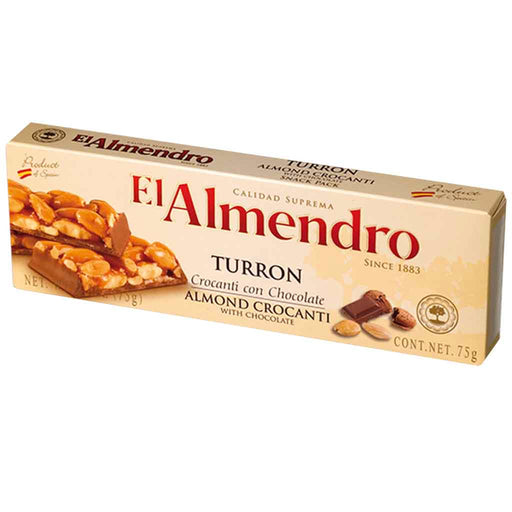 El Almendro Turron Almond Crocanti with Chocolate 2.6 oz. (75g)