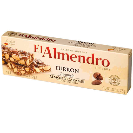 El Almendro Almond Caramel with Sesame Seeds Turron 2.6 oz. (75g)