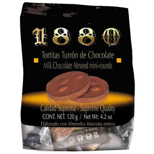 1880 Chocolate Turron with Almonds, Tortitas Mini Rounds, 4.2 oz. (120g)