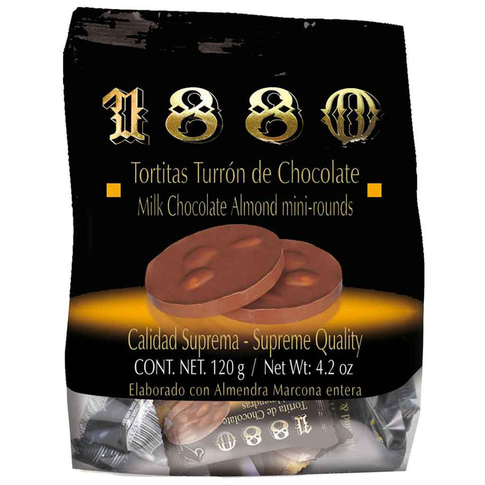 1880 Tortitas Turron Chocolate and Almond Mini Rounds 4.2 oz. (120g)